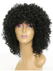 Medium Neat Bang Capless Kinky Curly Synthetic Wig -