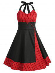 Plus Size Polka Dot Panel Vintage Dress -