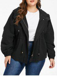 Plus Size Drawstring Hooded Jacket -