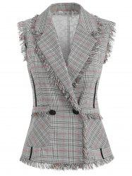 Sheer Lace Back Double Breasted Checked Vest -
