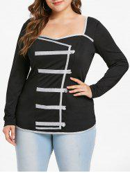 Plus Size Sweetheart Neck Buttons Contrast Trim Tee -