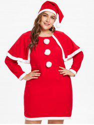 Plus Size Christmas Cape Dress -