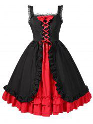 Plus Size Halloween Lace Up Ruffled High Waist Dress -