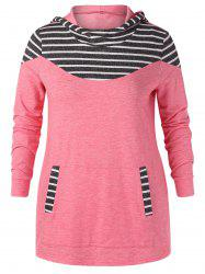 Plus Size Striped Front Pocket Hoodie -