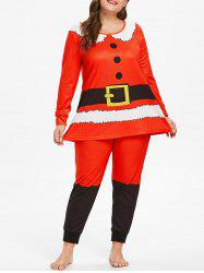 Christmas Plus Size Santa Claus Pajama Set -