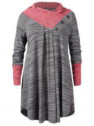 Plus Size Buttoned Heathered Top -