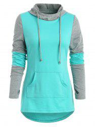 Kangaroo Pocket Armhole Color Block Hoodie -