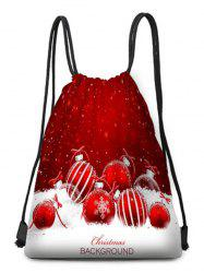 Snowflake Ball Print Drawstring Christmas Gift Bag -
