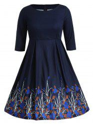 Plus Size Rose Graphic Flared Dress -