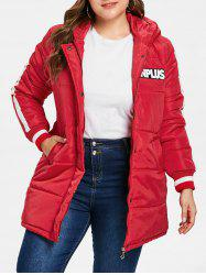 Plus Size Hooded Down Coat -
