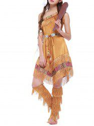 Halloween Tribe Style Belted Dress with Fringe -