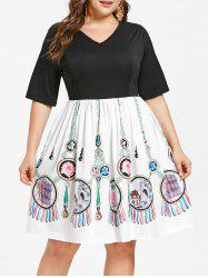Plus Size Print Panel Knee Length Dress -