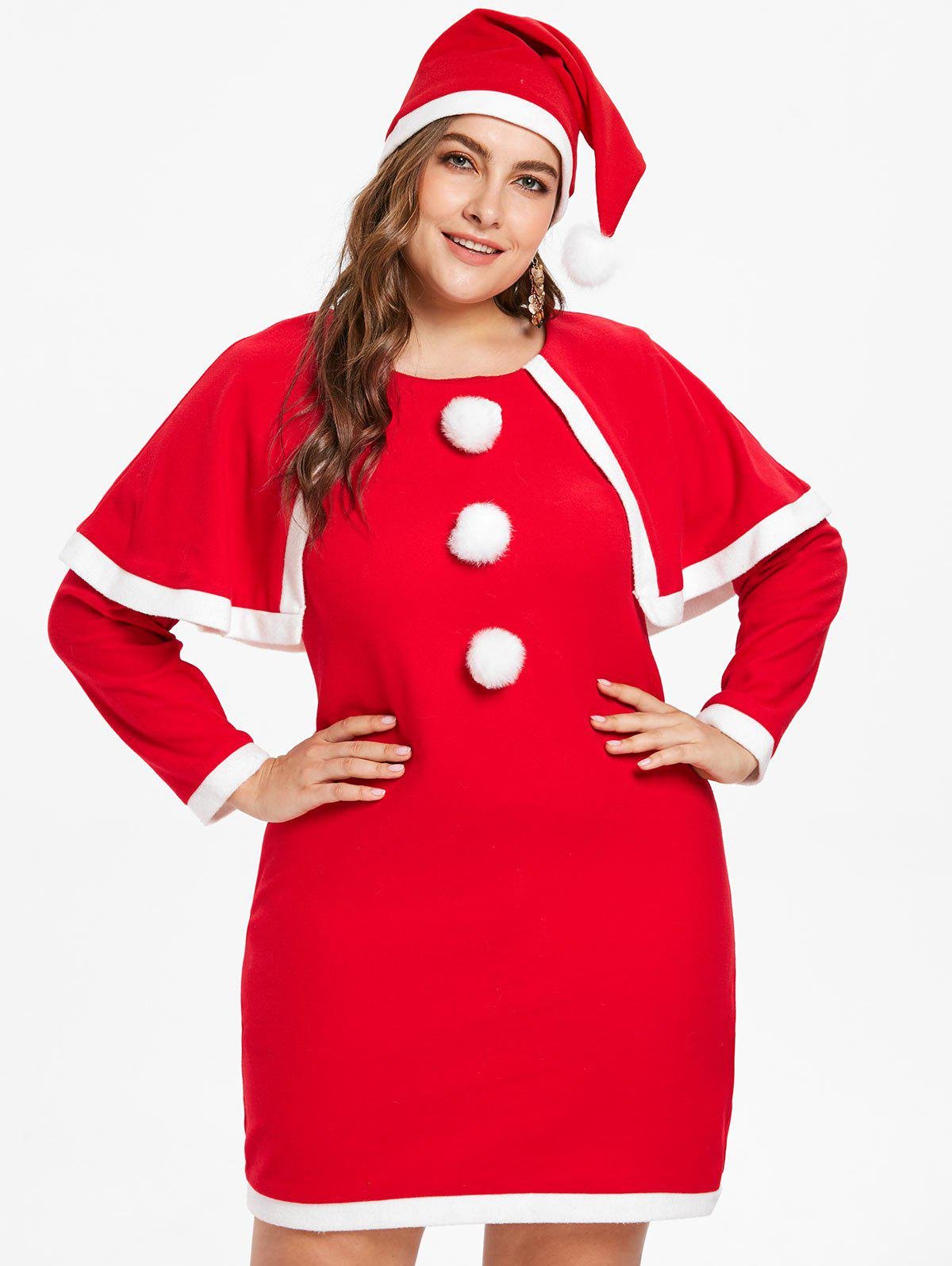Chic Plus Size Christmas Cape Dress