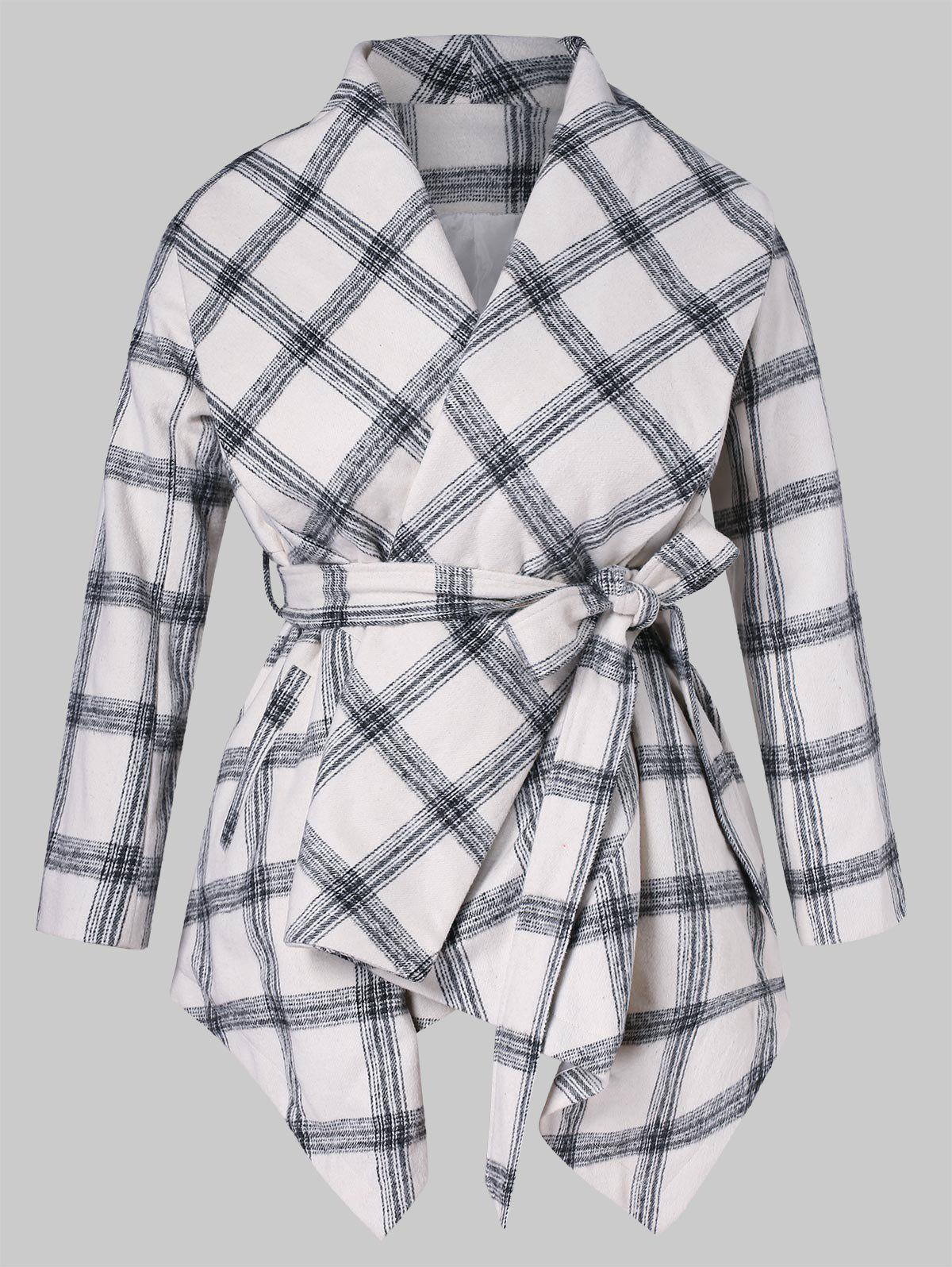 Hot Plus Size Shawl Collar Open Front Plaid Coat