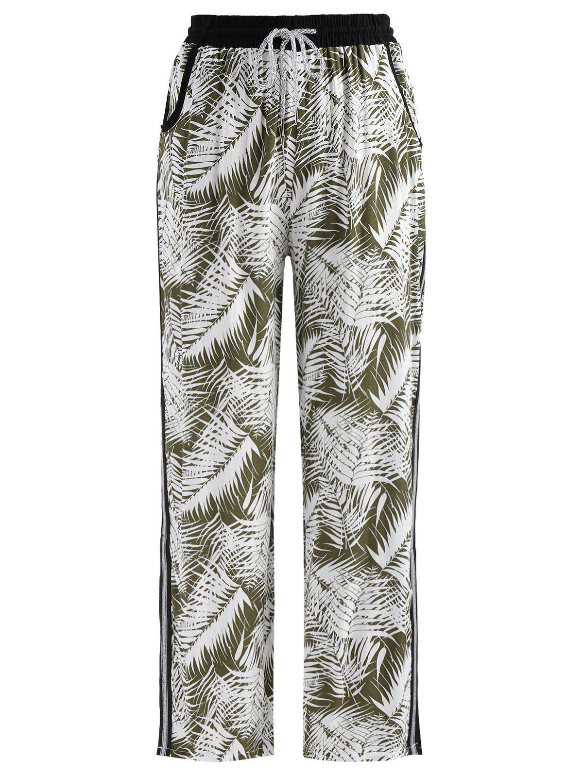 Unique Tropical Print Side Slit Pants