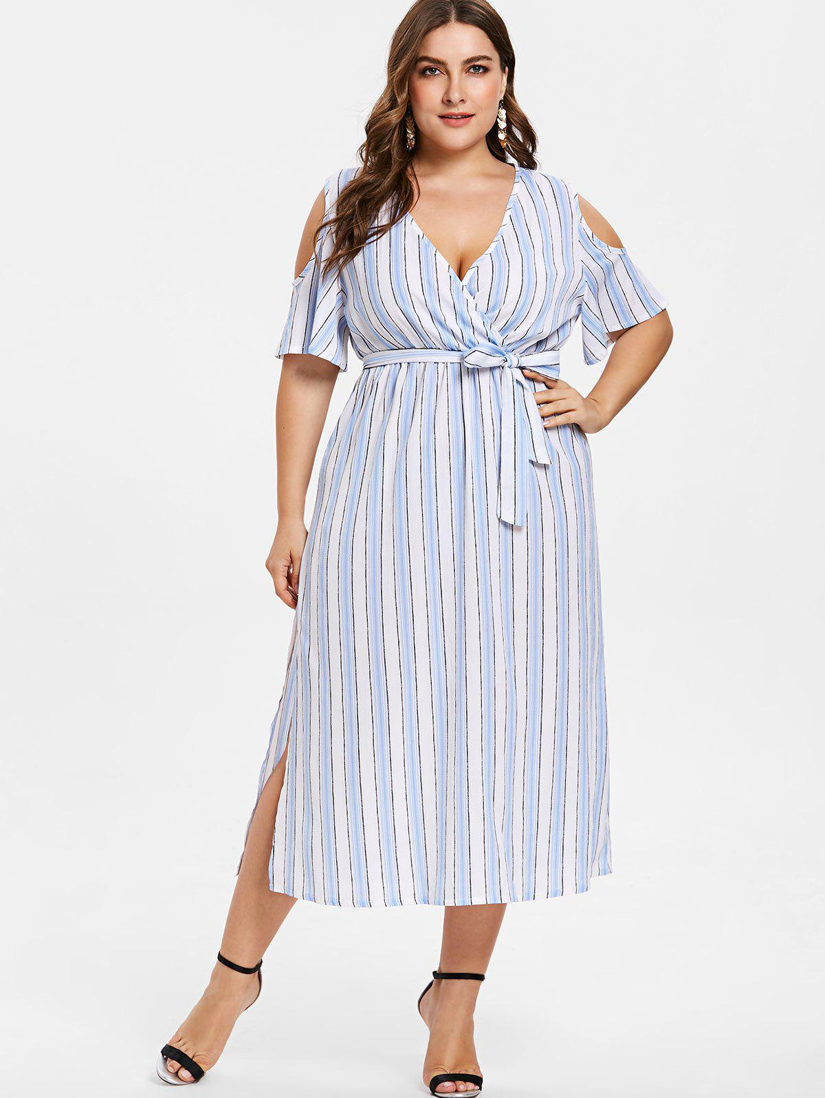 Hot Plus Size Slit Striped Cold Shoulder Dress