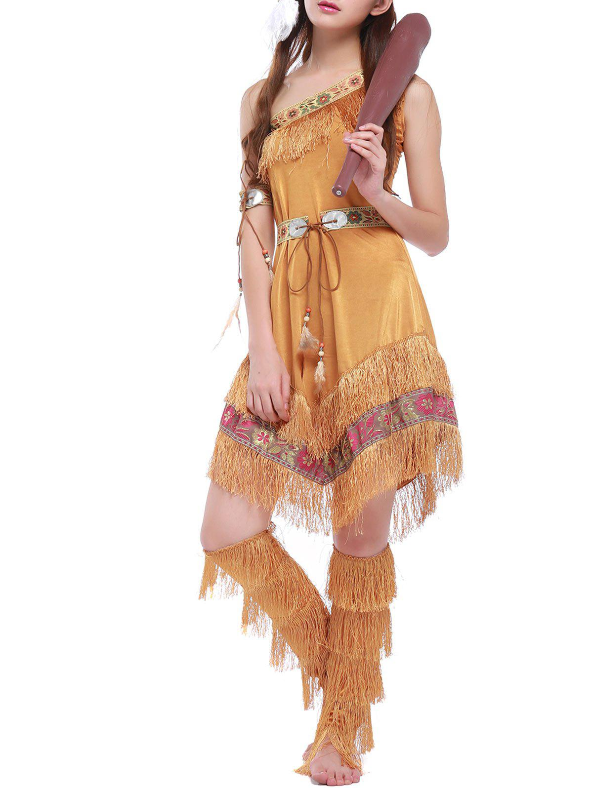Outfits Halloween Tribe Style Belted Dress with Fringe