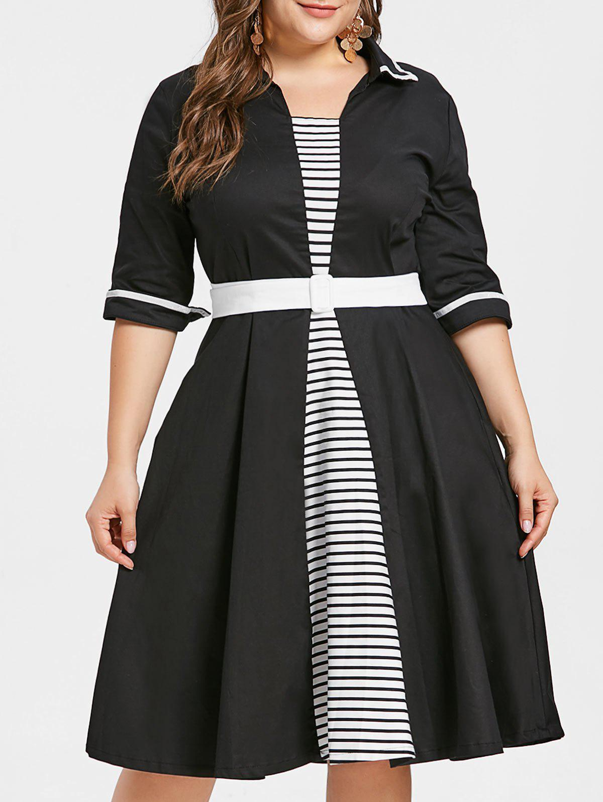 Unique Plus Size Striped Flared Dress with Belt
