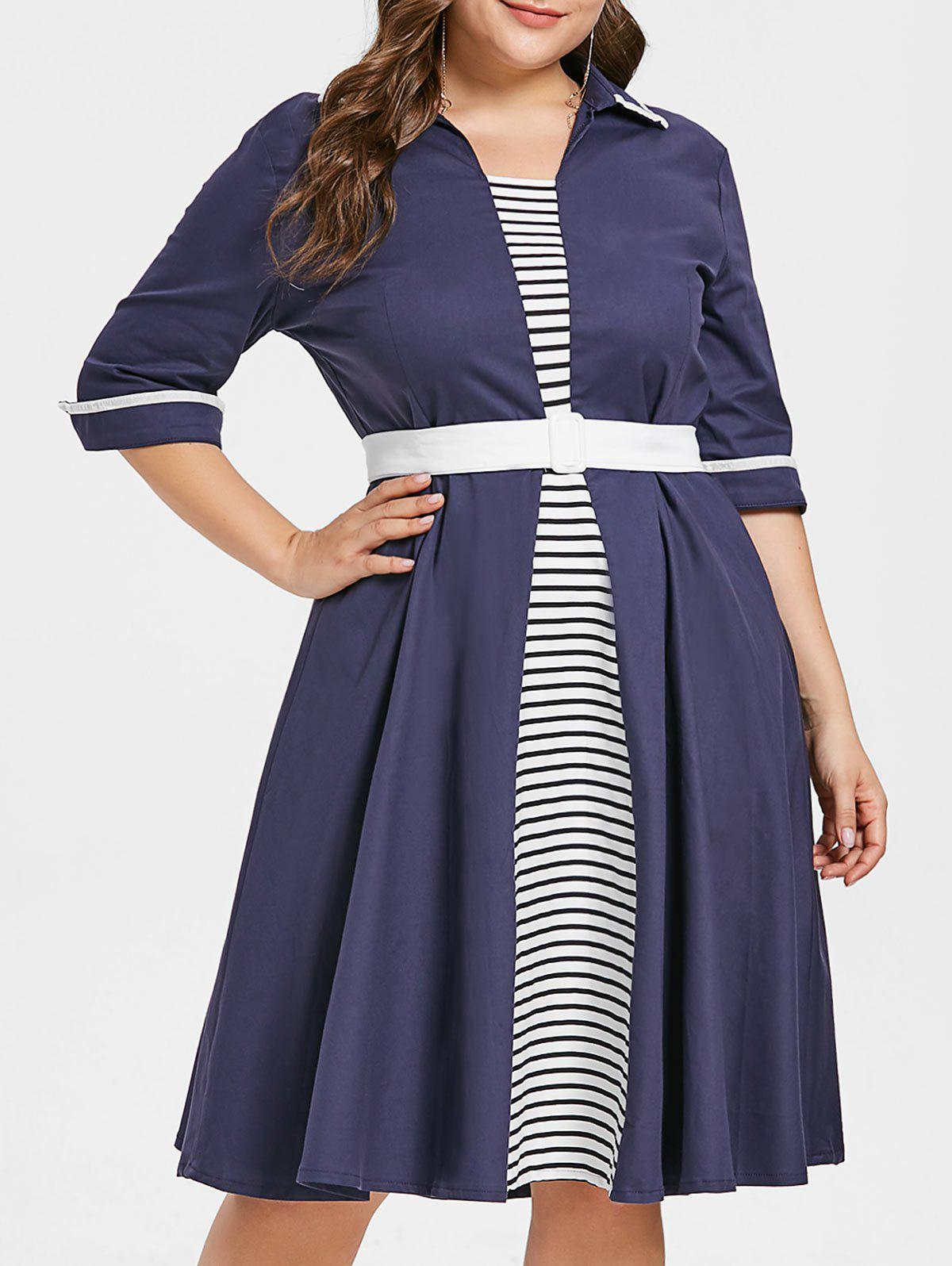 New Plus Size Striped Flared Dress with Belt