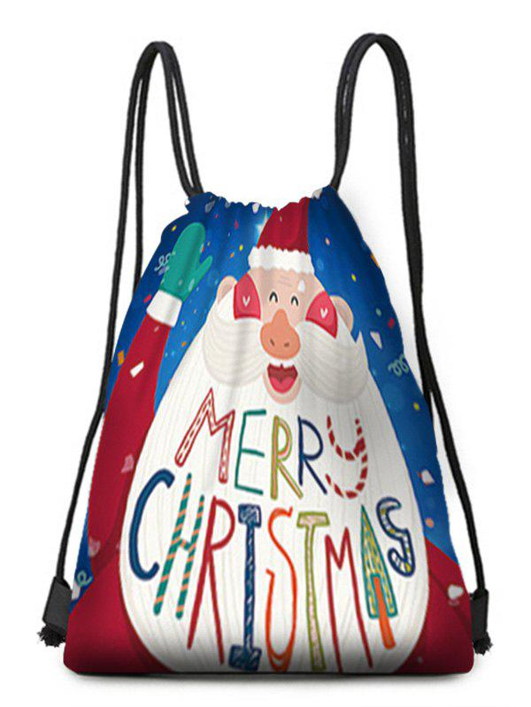 Trendy Cartoon Santa Claus Print Drawstring Christmas Gift Bag