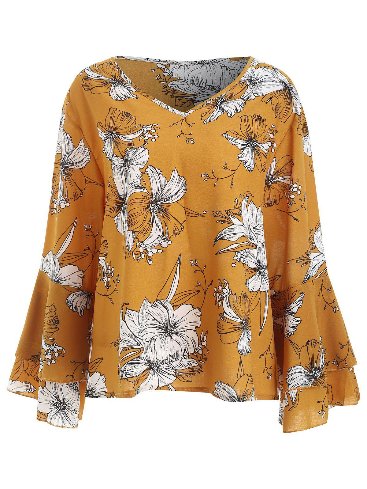 Outfit Plus Size Layered Sleeve V Neck Blouse