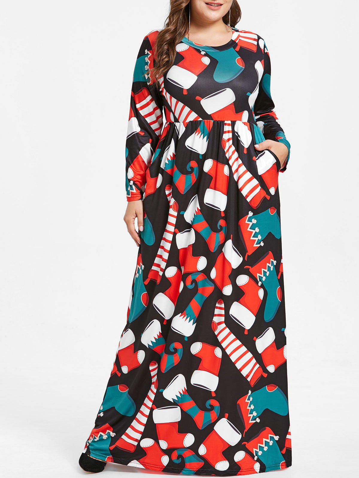 Outfit Plus Size Socks Print Maxi Christmas Dress