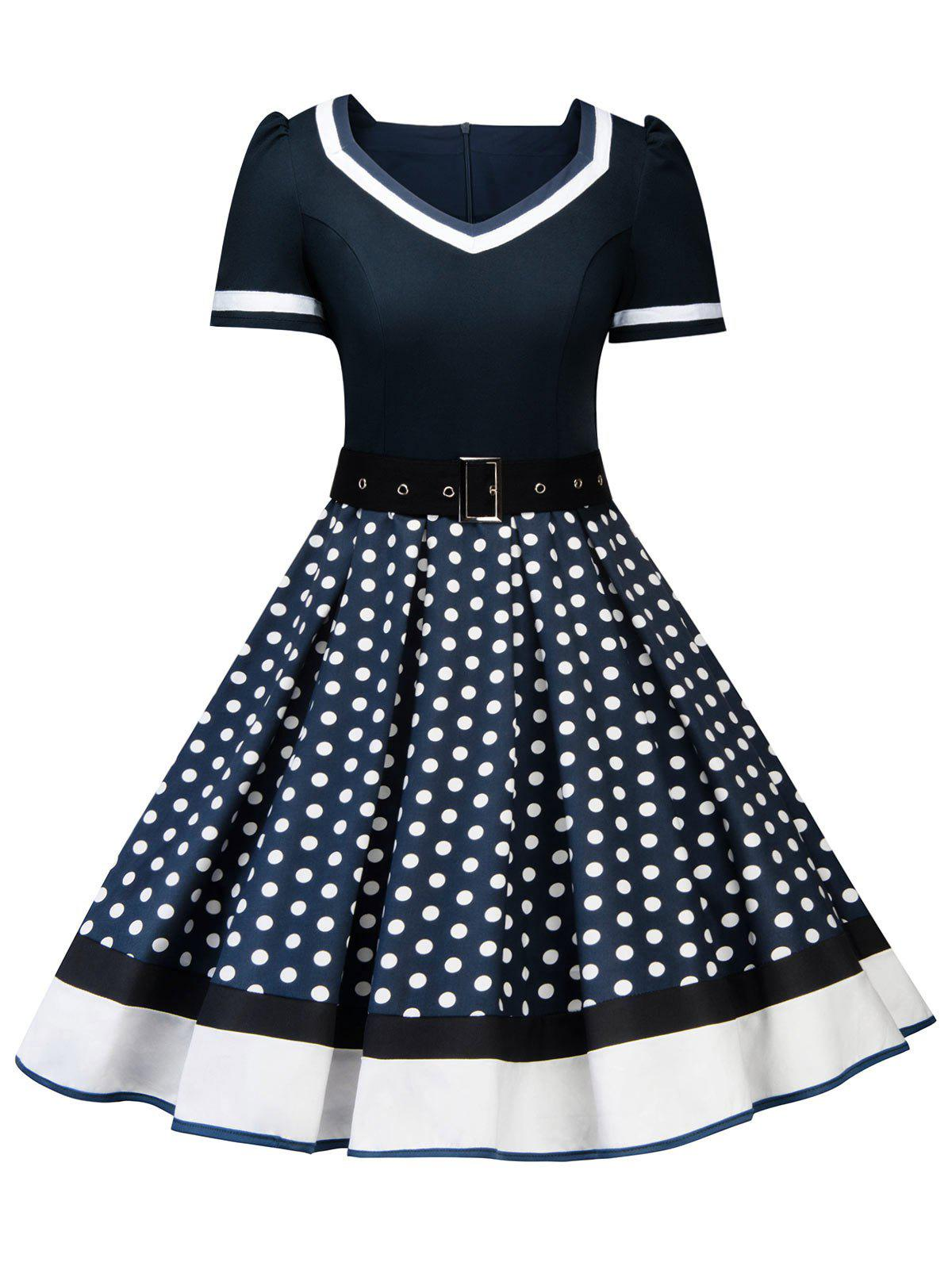 Latest Sweetheart Neck Polka Dot Insert Swing Dress