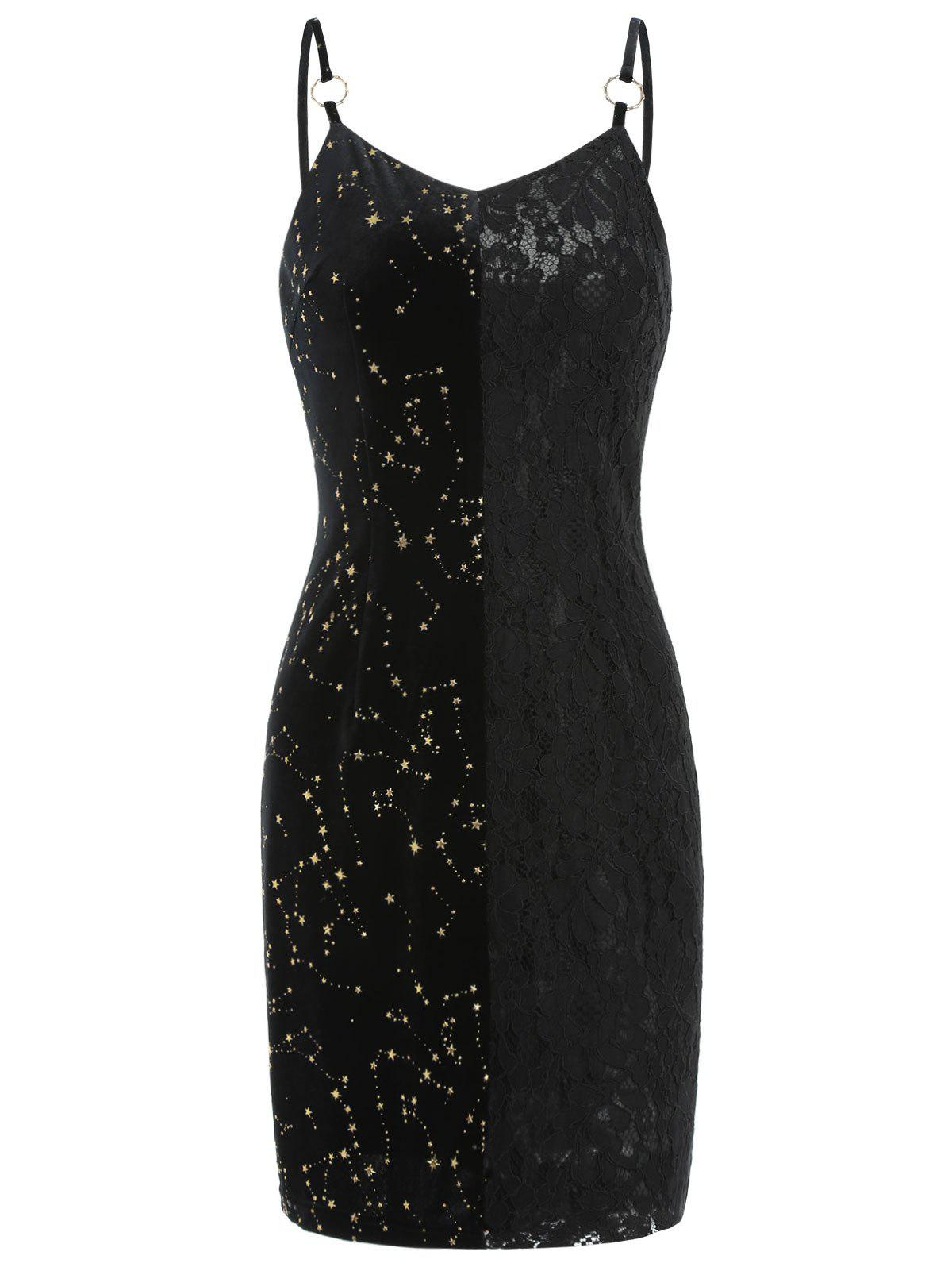Chic Velvet Star Lace Panel Mini Dress