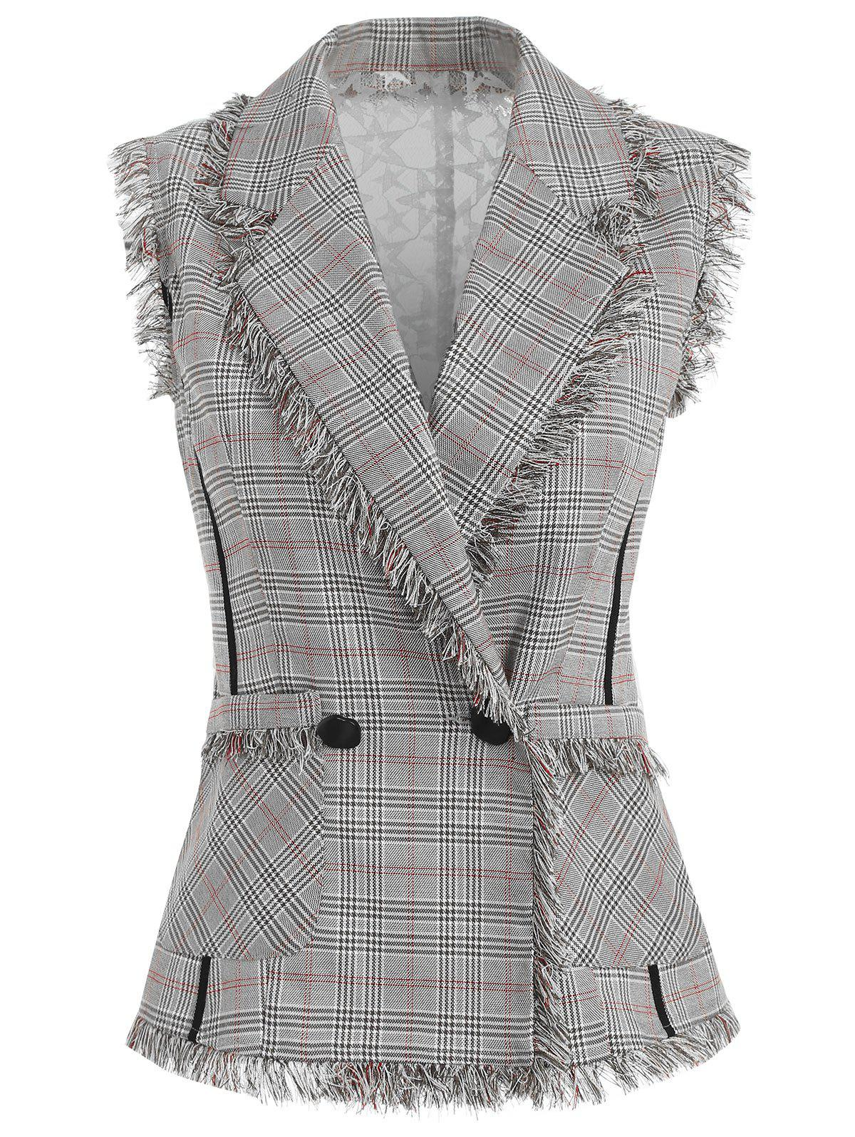 Hot Sheer Lace Back Double Breasted Checked Vest