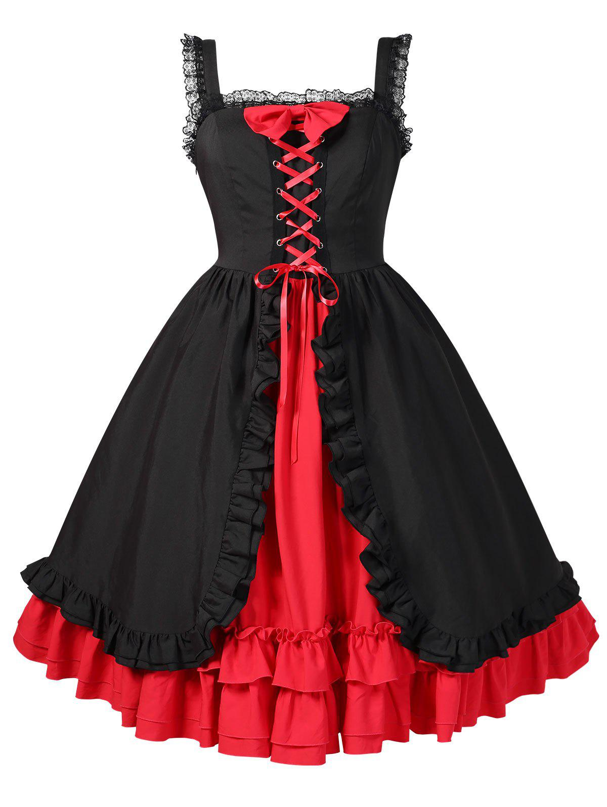 Fashion Plus Size Halloween Lace Up Ruffled High Waist Dress