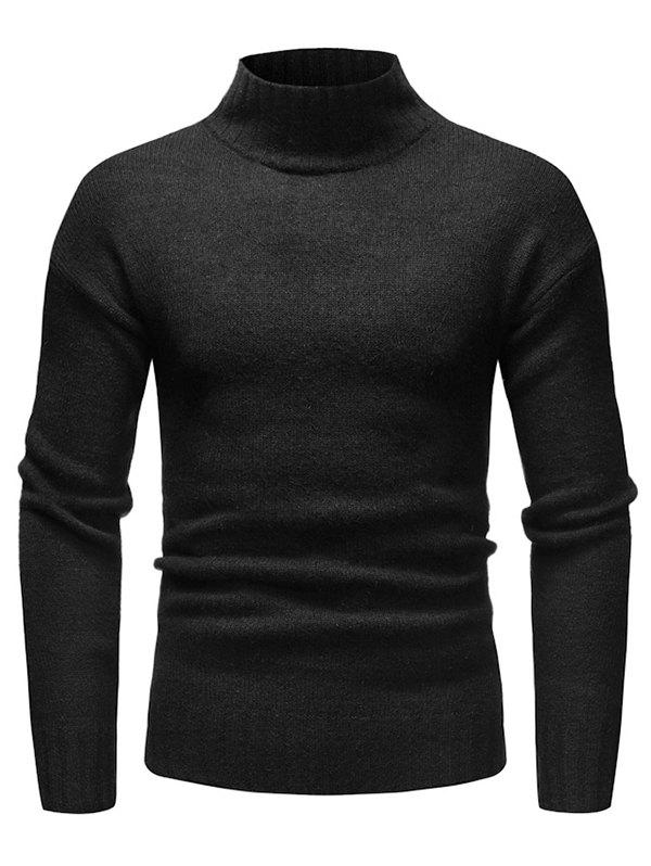 Trendy High Collar Long Sleeve Solid Sweater