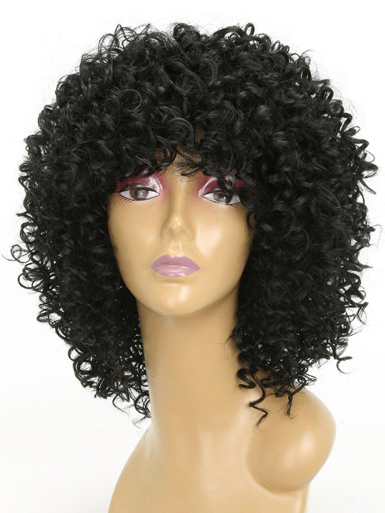 Fashion Medium Neat Bang Capless Kinky Curly Synthetic Wig