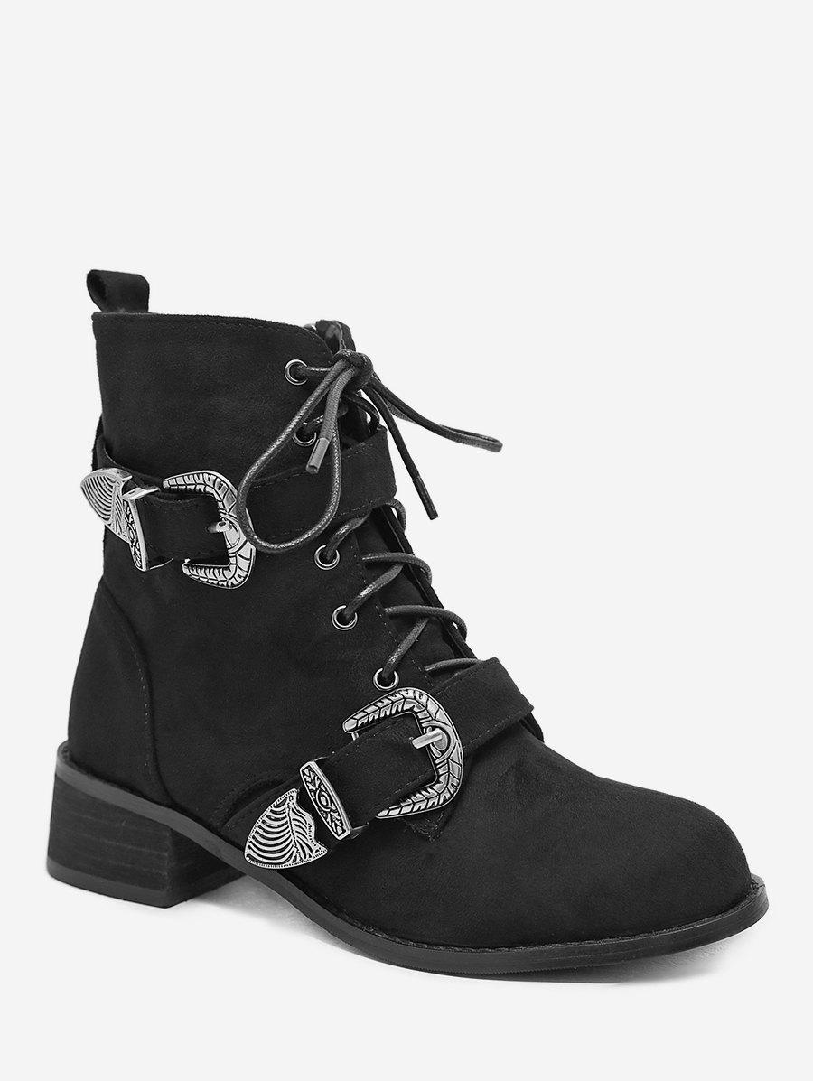 Store Buckle Strap Lacing Short Boots