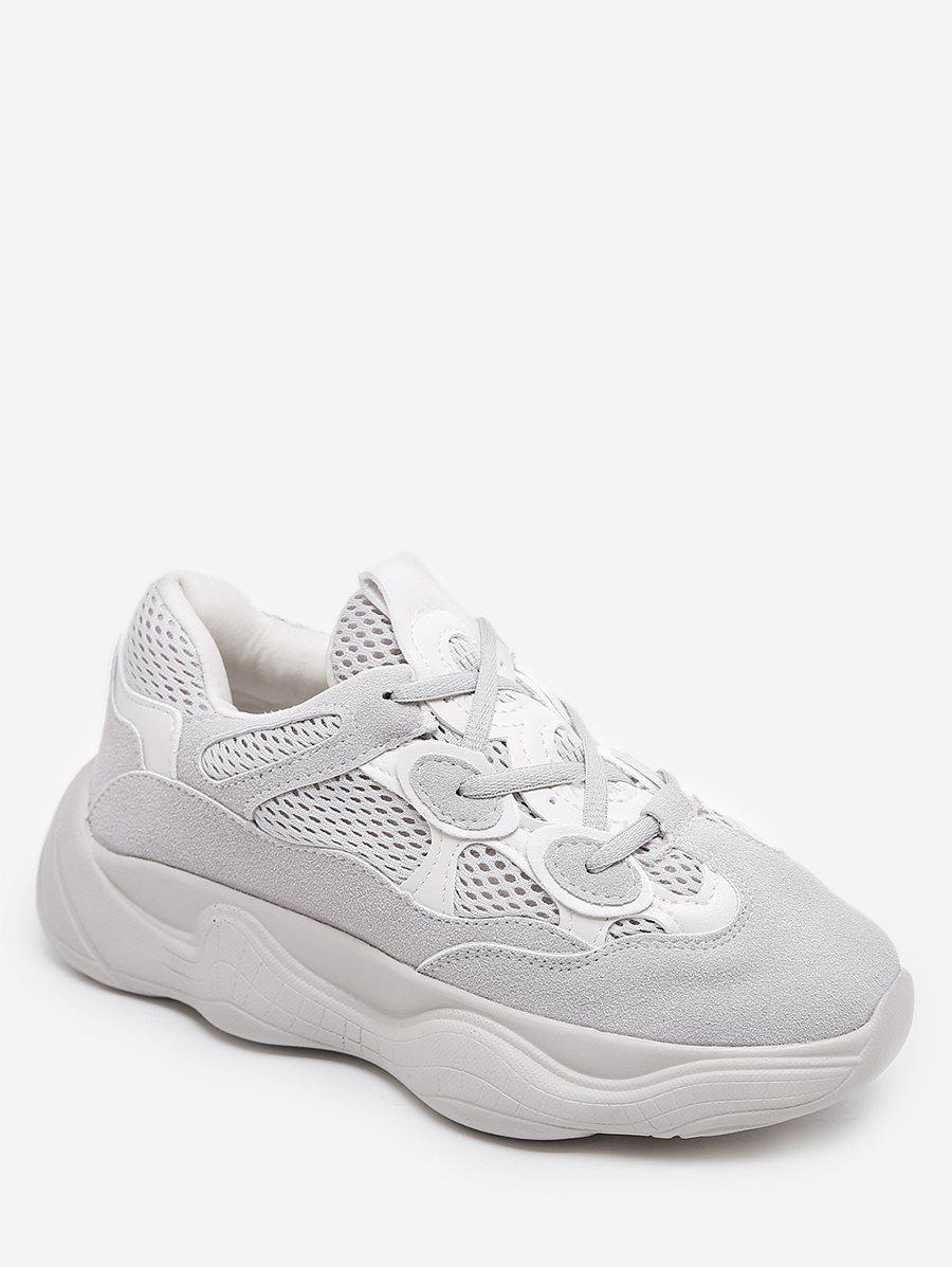 Fancy Breathable Mesh Lacing Chunky Sneakers