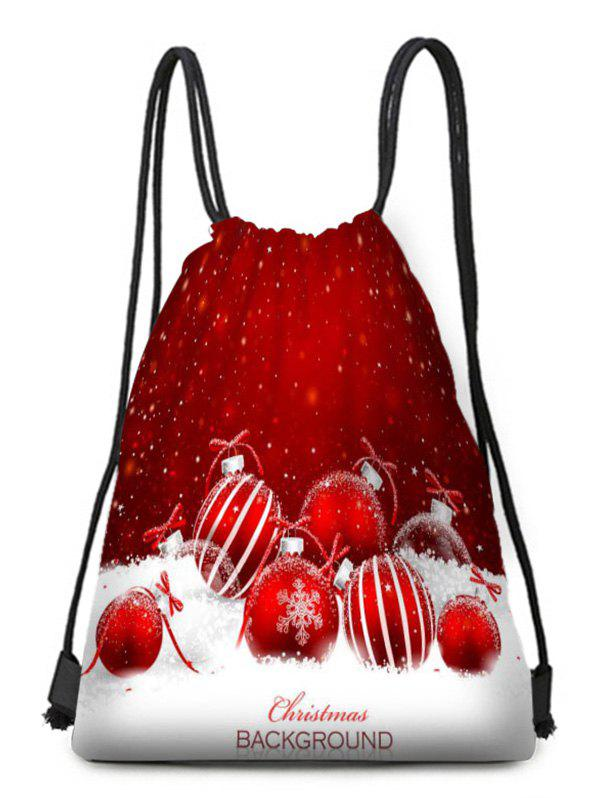 Cheap Snowflake Ball Print Drawstring Christmas Gift Bag