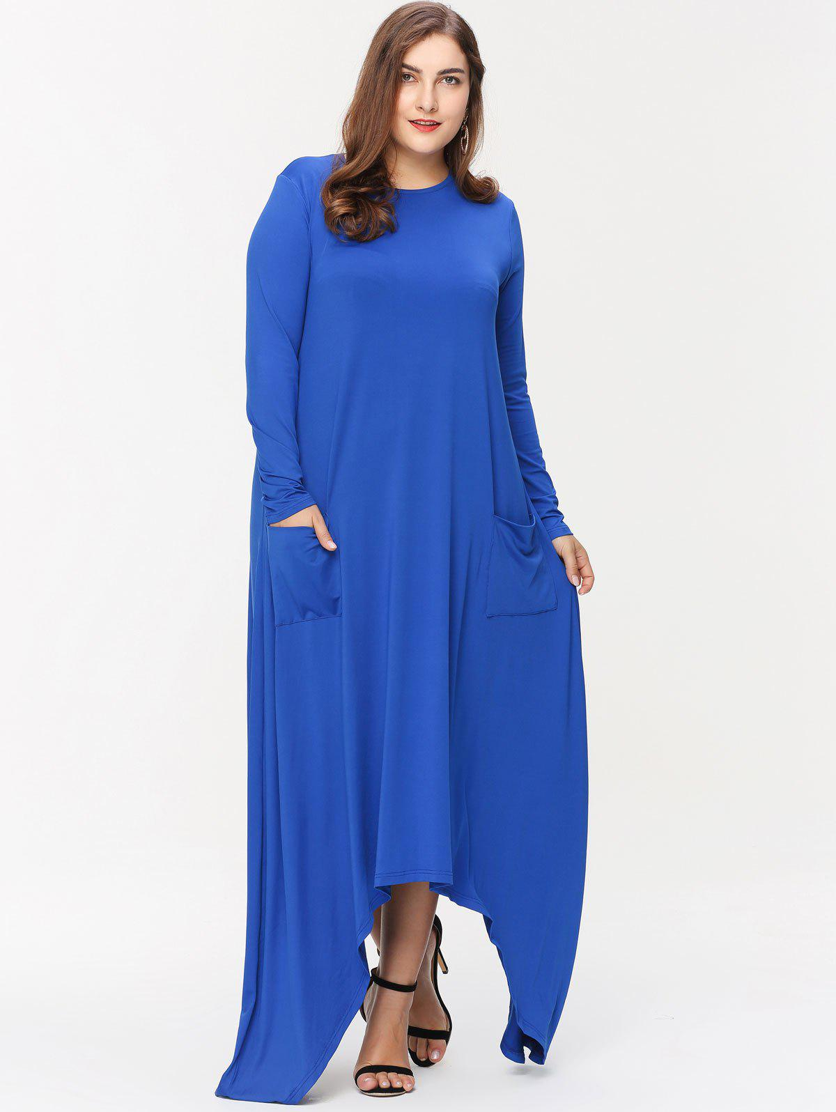 Unique Front Pockets Plus Size Asymmetrical Maxi Dress