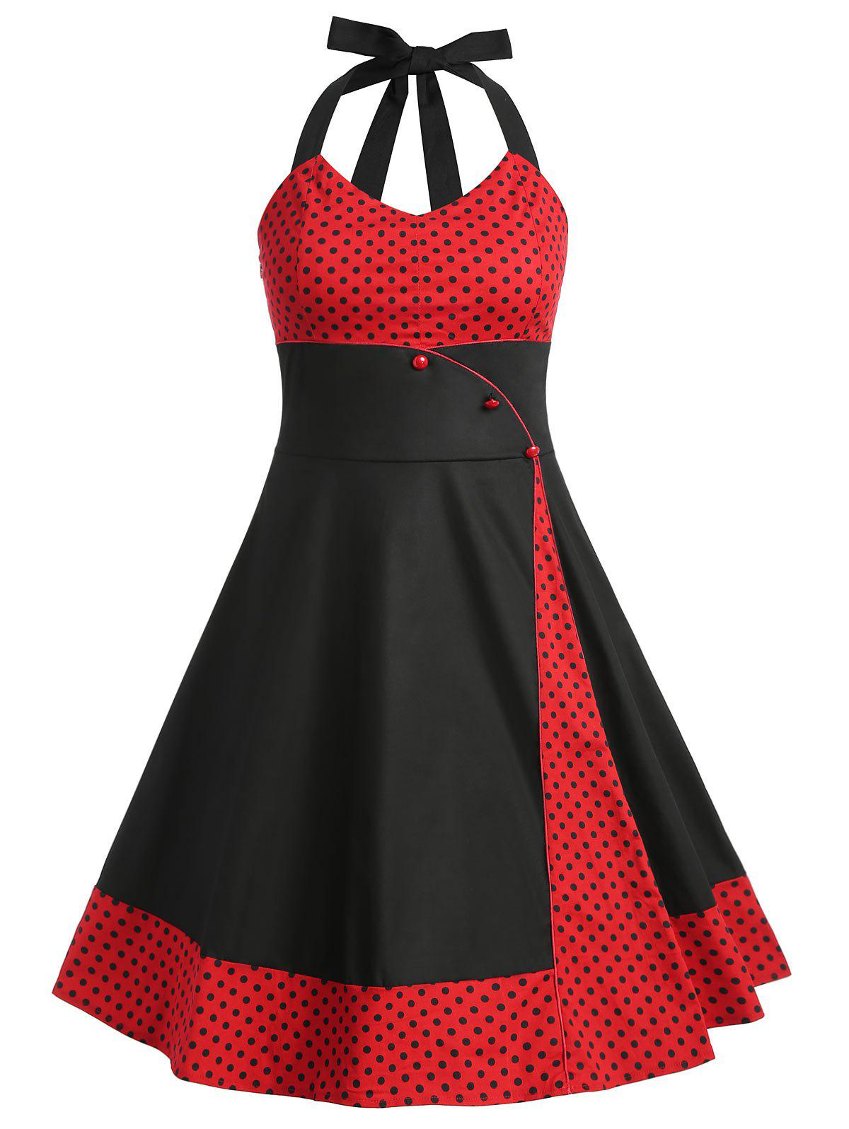 Store Plus Size Polka Dot Panel Vintage Dress