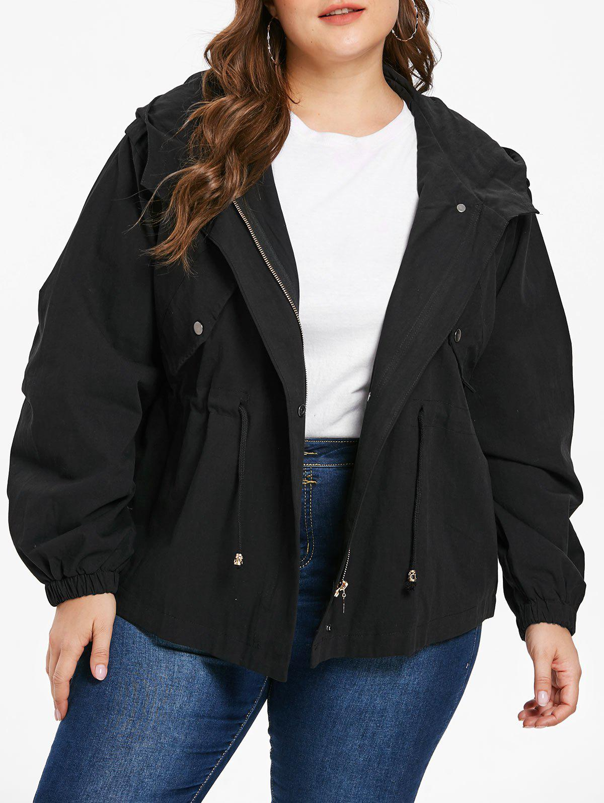 New Plus Size Drawstring Hooded Jacket