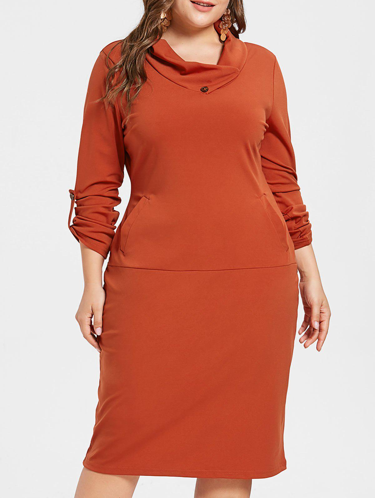 Affordable Plus Size Knee Length Bodycon Dress