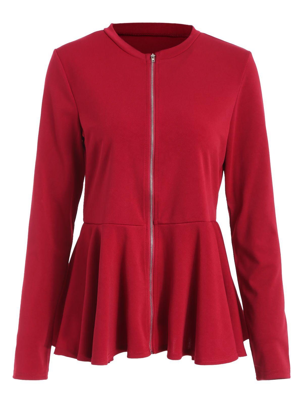 Veste Péplum Zip Rouge Vineux M