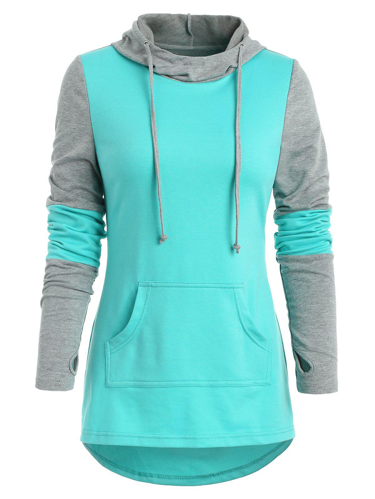 Fashion Kangaroo Pocket Armhole Color Block Hoodie