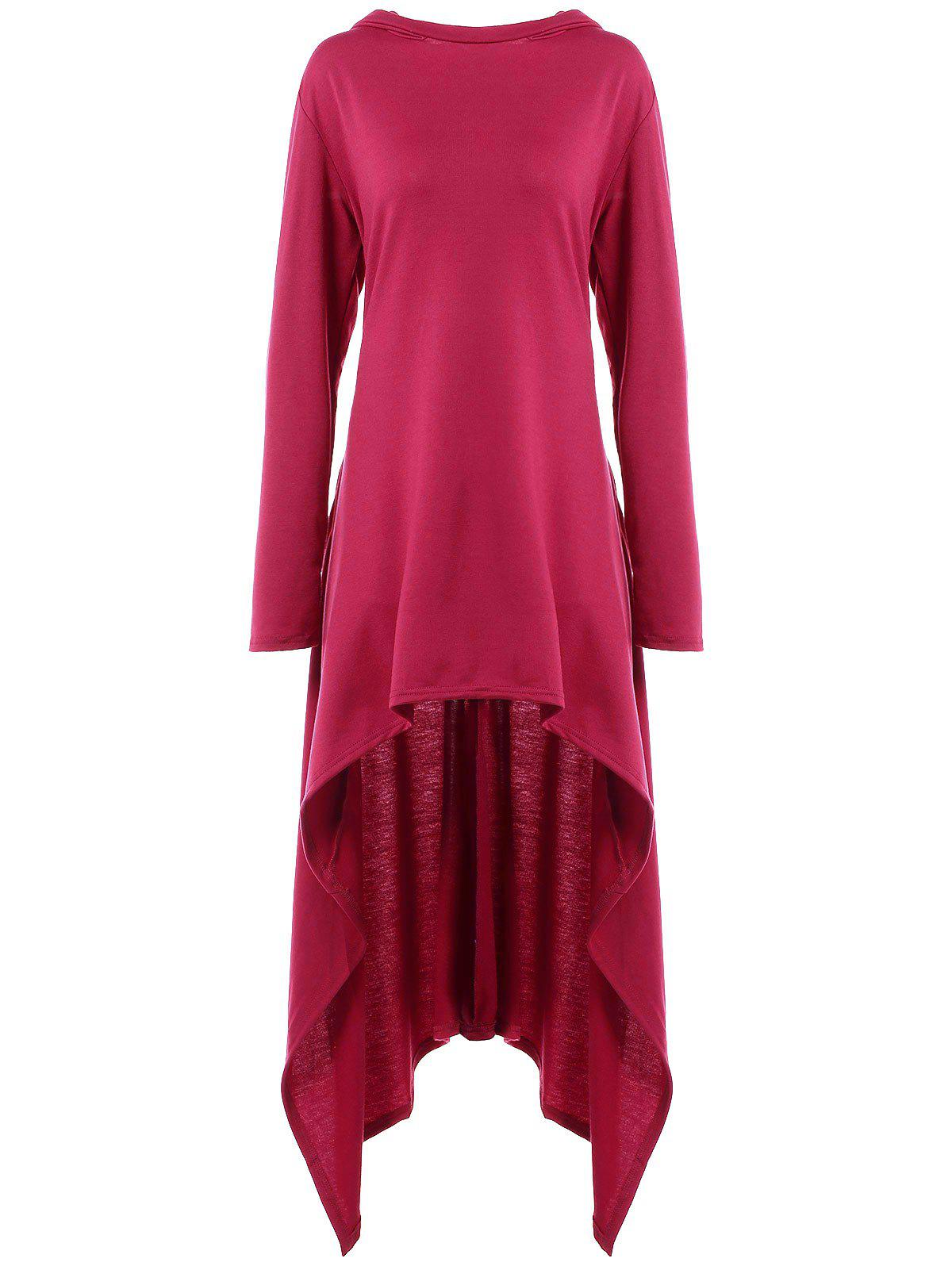 Fashion High Low Hooded Dress with Long Sleeves