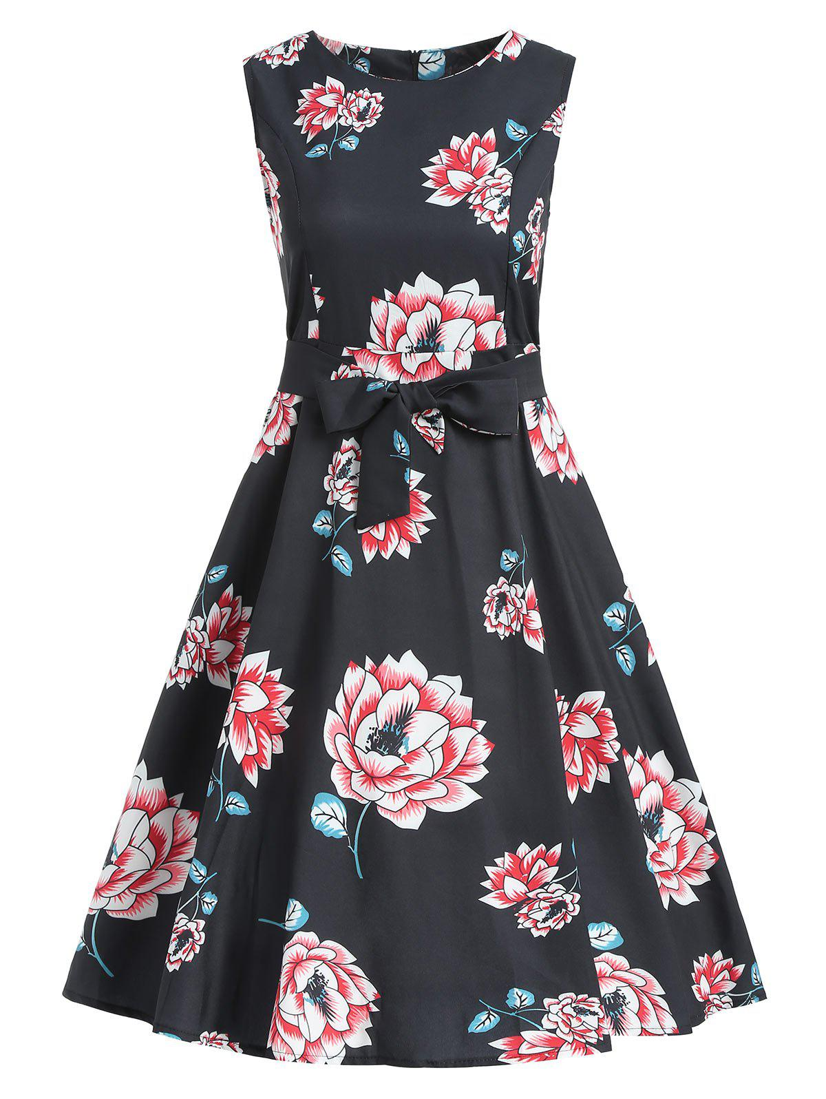 Cheap Floral Flared Vintage Dress