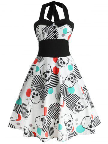 Halloween Skull Print Halter Swing Dress