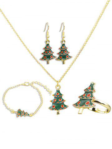 Christmas Tree Design Necklace Earrings Ring Bracelet Set