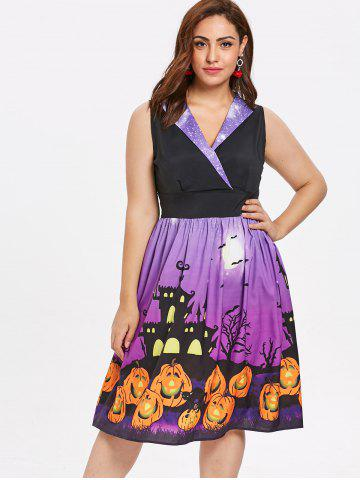 Plus Size Halloween Pumpkin Printed Vintage Dress