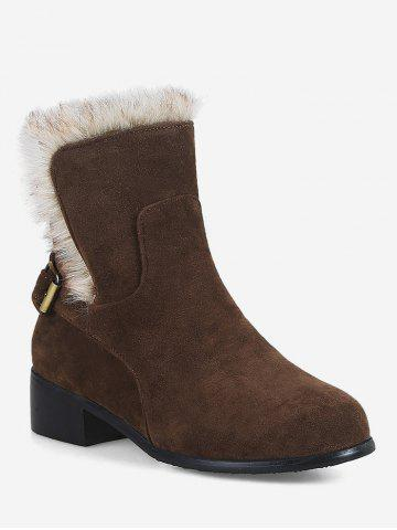 Plus Size Buckle Faux Fur Suede Snow Boots