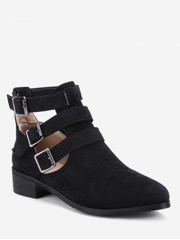 Plus Size Cut Out Buckle Strap Suede Boots