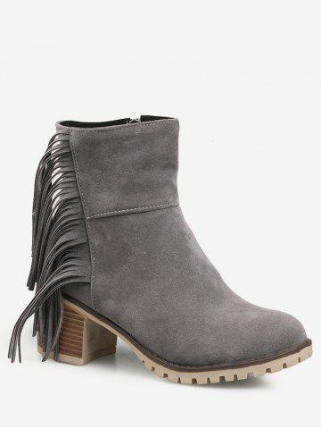 Fringe Chunky Heel Suede Short Boots