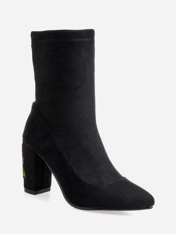 Plus Size Embroidered Chunky Heel Mid Calf Boots